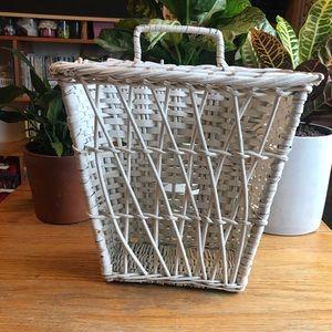 Vintage White Wicker Wall Basket